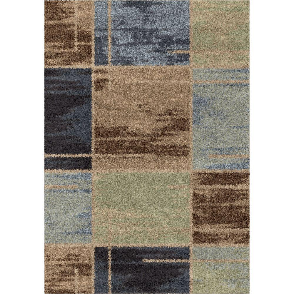 Orian Rugs Juke Blue Geo Shag 5 Ft X 8 Indoor Area Rug