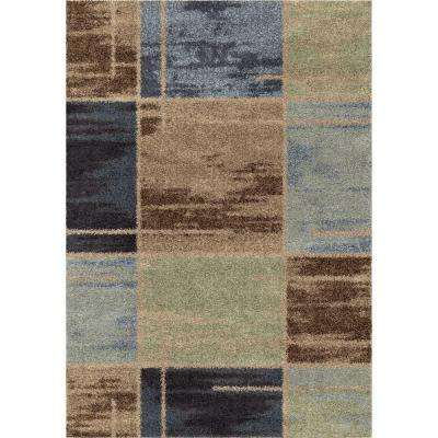 Juke Blue Geo Shag 5 ft. x 8 ft. Indoor Area Rug