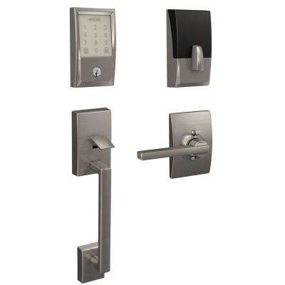Century Encode Smart Wifi Door Lock with Alarm and Accent Lever Handleset in Satin Nickel