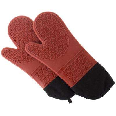 Silicone Dark Red Oven Mitts with Quilted Lining (2-Pack)
