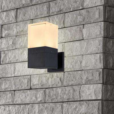 5-Watt Matt Black Integrated LED Outdoor Wall Lantern Sconce