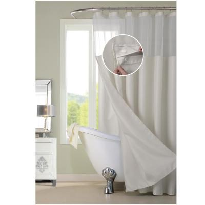 Complete 72 in. Off-White Waffle Weave with Detachable Liner Shower Curtain Set