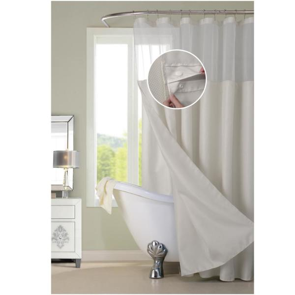 Dainty Home Complete 72 in. Off-White Waffle Weave with Detachable Liner Shower Curtain Set