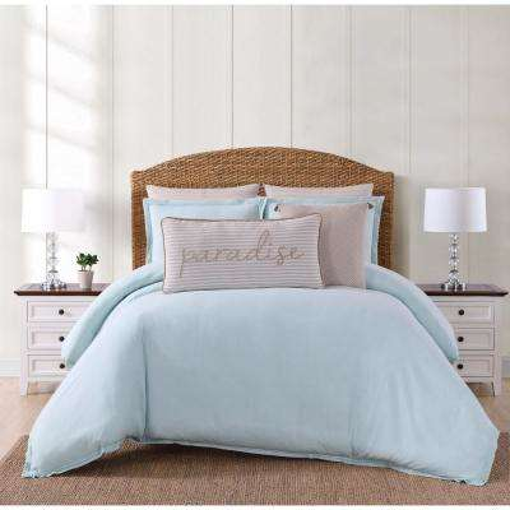 Chambray Coast Aqua King Comforter with 2-Shams