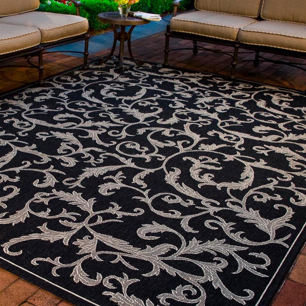 Courtyard Black/Sand 9 ft. x 12 ft. Indoor/Outdoor Area Rug