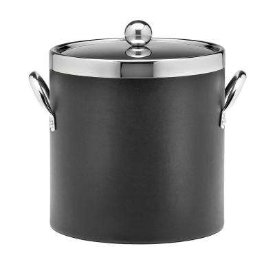 Contempo 3 Qt. Black Ice Bucket with Chrome Lid and Side Handles