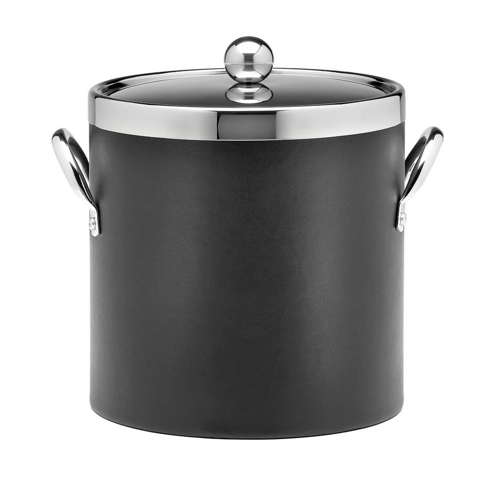 Contempo 3 Qt. Black Ice Bucket with Chrome Lid and Side