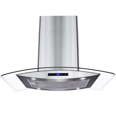 30 in. Island Mount Stainless Steel Tempered Glass Touch Panel Kitchen Range Hood Cooking Fan