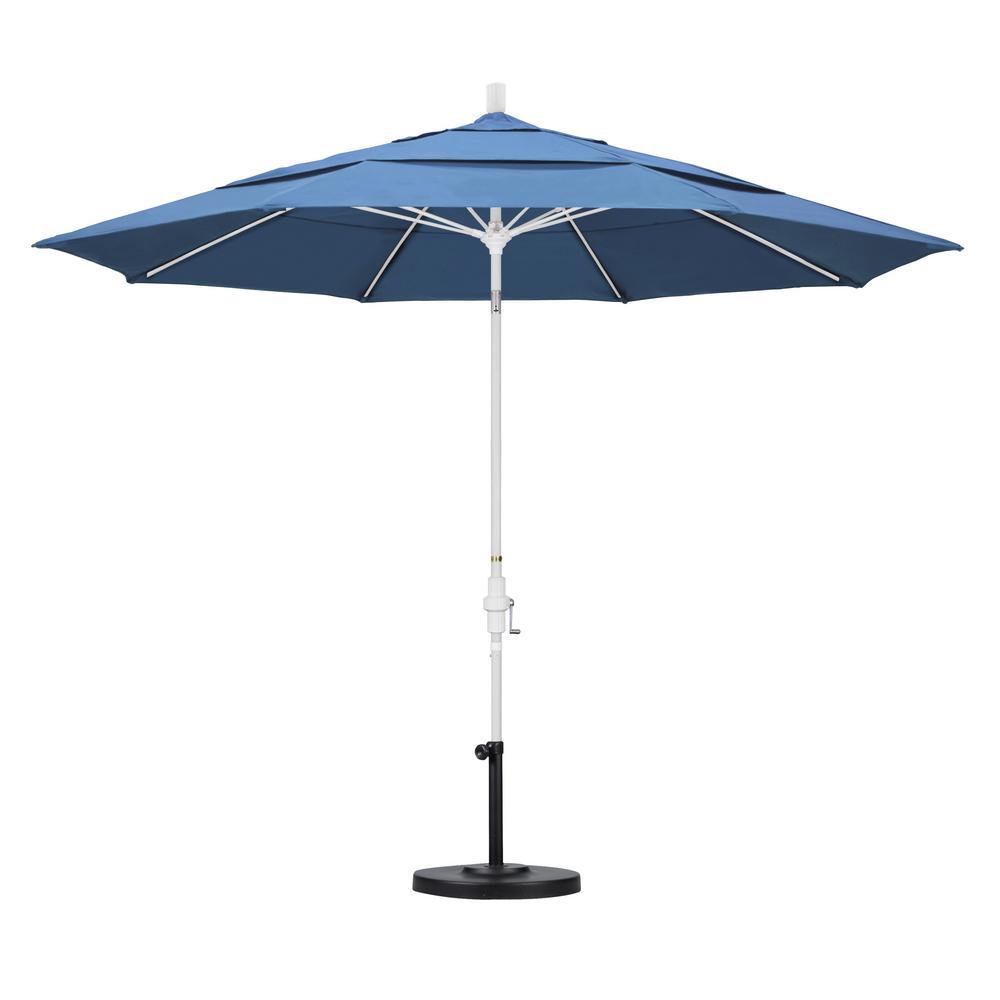 11 ft. Fiberglass Collar Tilt Double Vented Patio Umbrella in Frost
