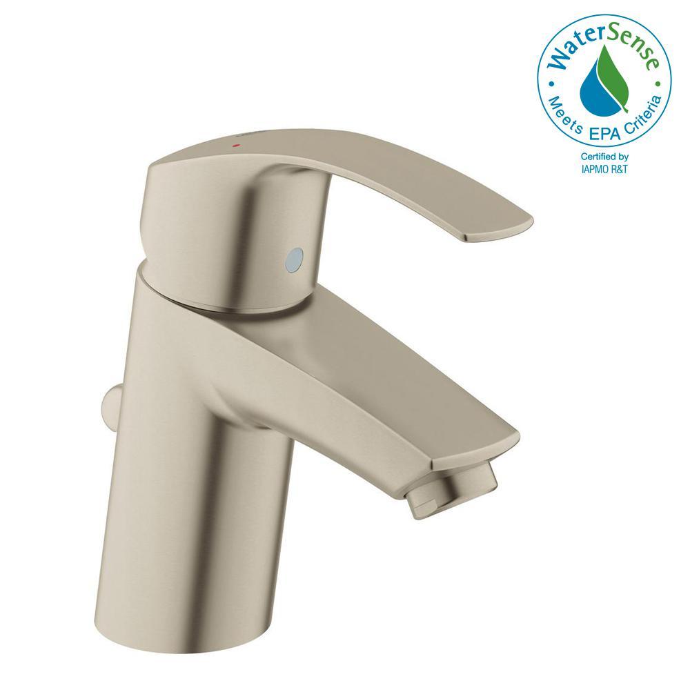 Eurosmart Single Hole Single-Handle Low-Arc Bathroom Faucet in Brushed Nickel InfinityFinish
