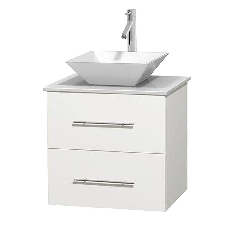 Wyndham Collection Centra 24 in. Vanity in White with Solid-Surface Vanity Top in White and Porcelain Sink