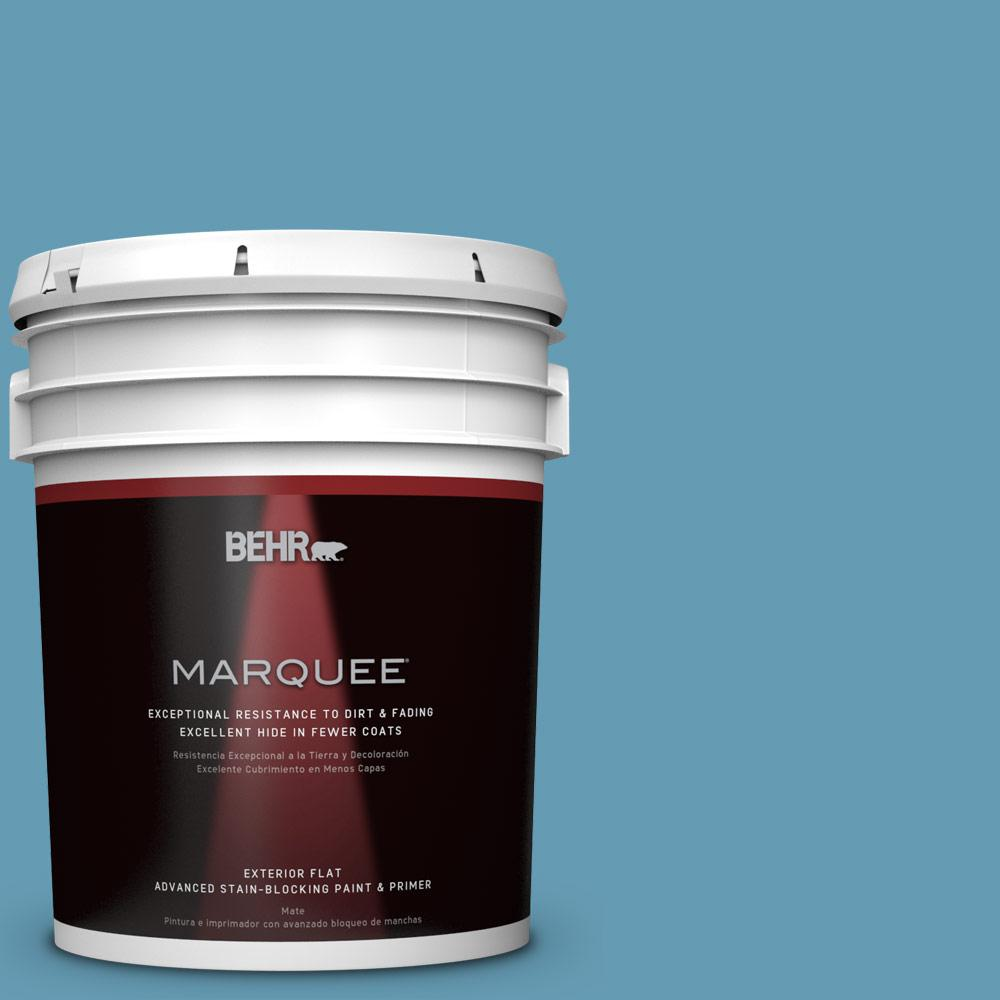 BEHR MARQUEE 5-gal. #S490-4 Yacht Blue Flat Exterior Paint