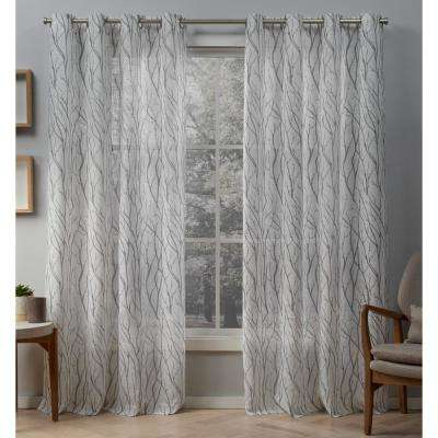 Oakdale 54 in. W x 84 in. L Sheer Grommet Top Curtain Panel in Dove Gray (2 Panels)