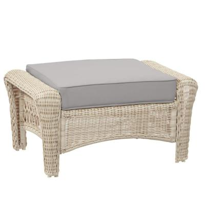 Park Meadows Off-White Wicker Outdoor Patio Ottoman with CushionGuard Stone Gray Cushion