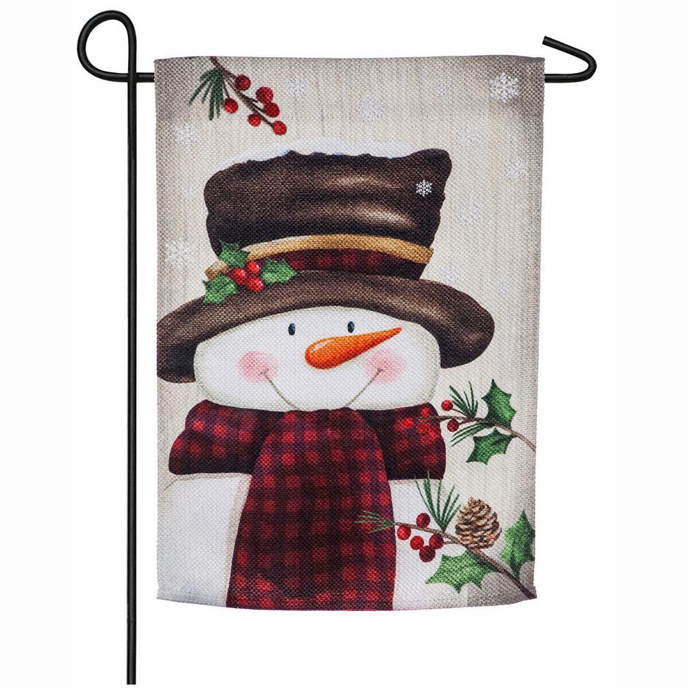 18 in. x 12.5 in. Smiling Snowman Garden Textured Suede Flag