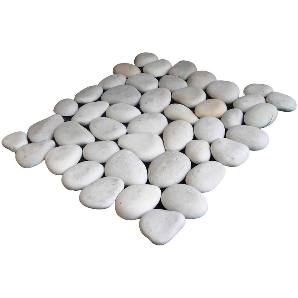 Cruz Bay Classic Pebble Tile White 11-1/2 in. x 11-1/2 in. x 12.7 mm Mesh-Mounted Mosaic Tile (10.12 sq. ft. / case)