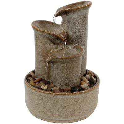 10 in. Carafe Ceramic Indoor Tabletop Water Tiered Fountain