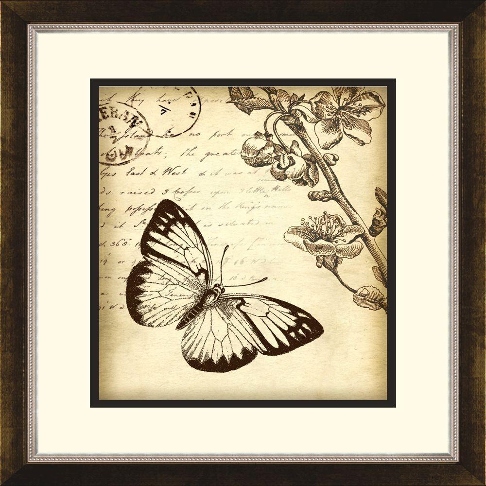 """14.5 in. x 16.5 in. """"Botanical Butterfly B"""" Framed Wall Art"""