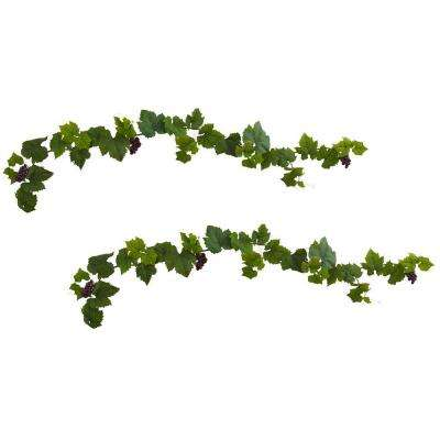 6 ft. Grape Leaf Deluxe Garland with Grapes (Set of 2)