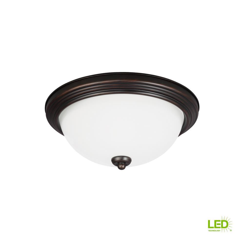Ceiling Flush Mount 3-Light Burnt Sienna Flushmount with LED Bulbs