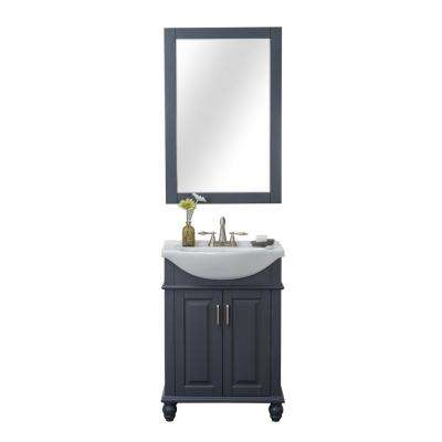 Lakewood 24 in. W x 17.5 in. D x 34.75 in. H Vanity in Gray with Porcelain Vanity Top in White with White Basin