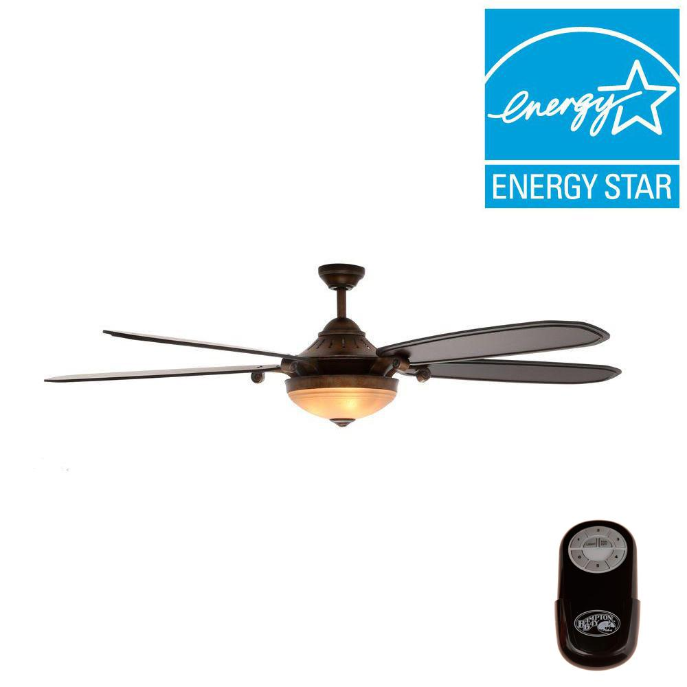 Hampton Bay Victoria 70 in. Indoor French Beige Ceiling Fan with Light Kit and Remote Control