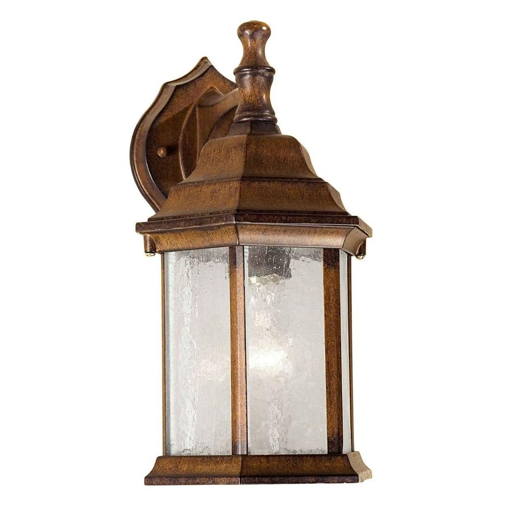 Talista 1-Light Outdoor Rustic Sienna Wall Lantern with Clear Seeded Glass Panels