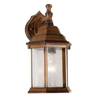 1-Light Outdoor Rustic Sienna Wall Lantern with Clear Seeded Glass Panels