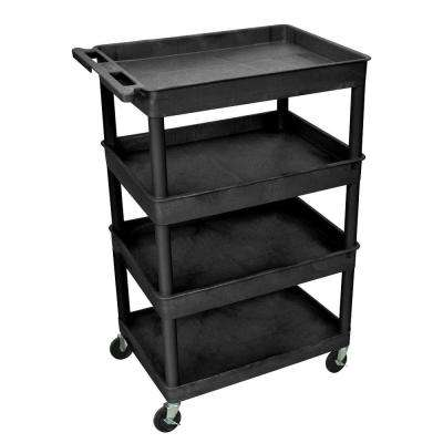 Heavy Duty 32 in. x 24 in. Utility Cart with 4-Shelves in Black