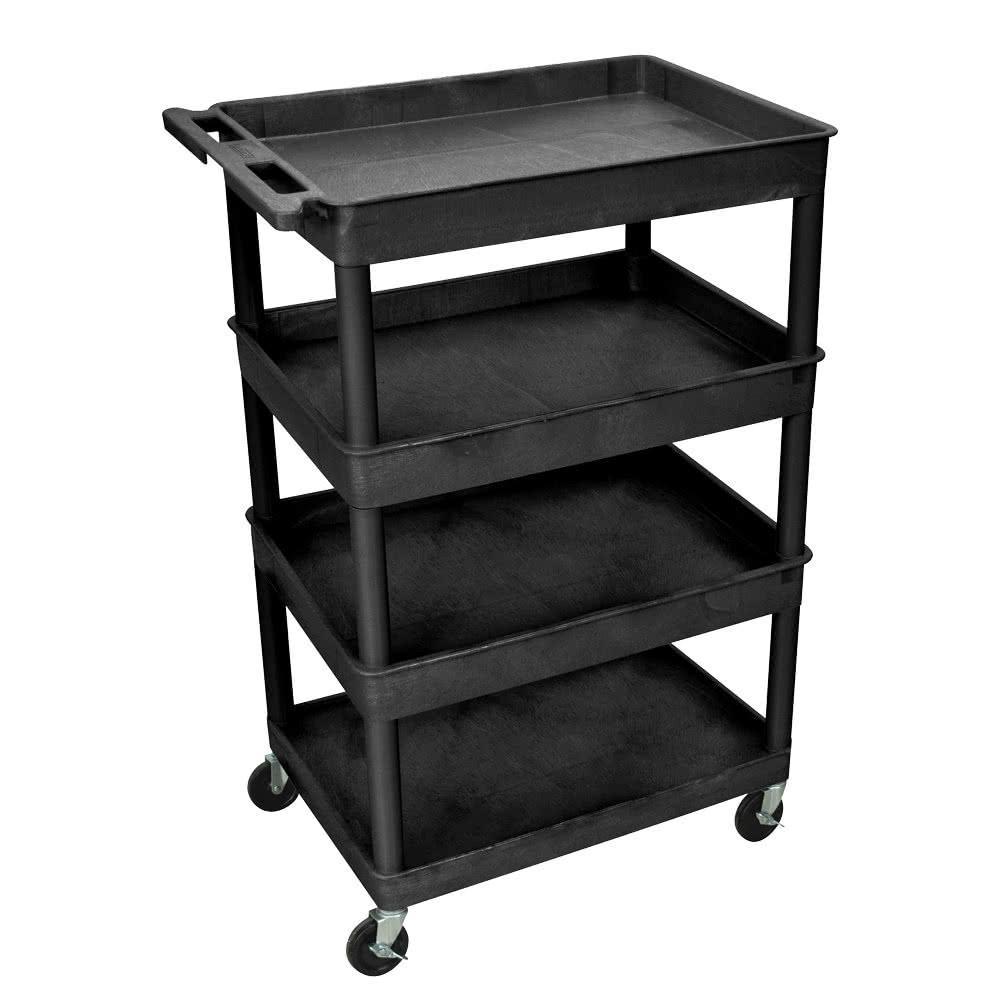 Heavy Duty 32 in. x 24 in. Utility Cart with 4-Shelves in Black
