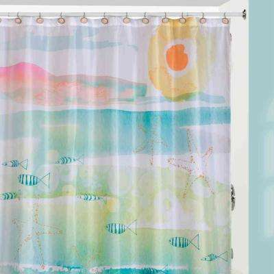 'By The Sea' Beach-Themed Shower Curtain/Curtain Hooks/Rug Set