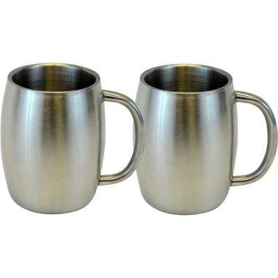 14 oz. Silver Stainless Smooth Double Wall Steel Beer/Coffee/Desk Mug (Set of 2)