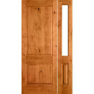 46 in. x 80 in. Rustic Unfinished Knotty Alder Square-Top Left-Hand Right Half Sidelite Clear Glass Prehung Front Door