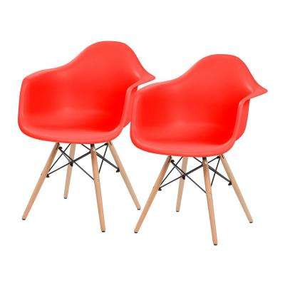 Red Plastic Shell Chair with Arm Rest (Set of 2)