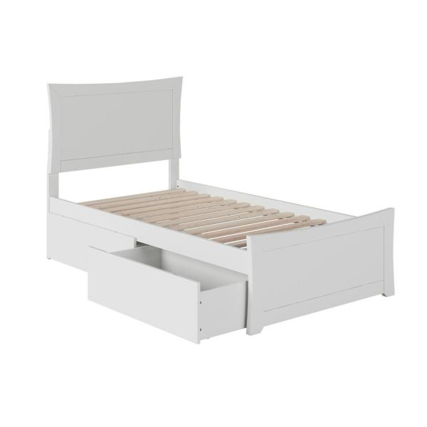 Metro White Twin Platform Bed with Matching Foot Board with 2-Urban Bed Drawers
