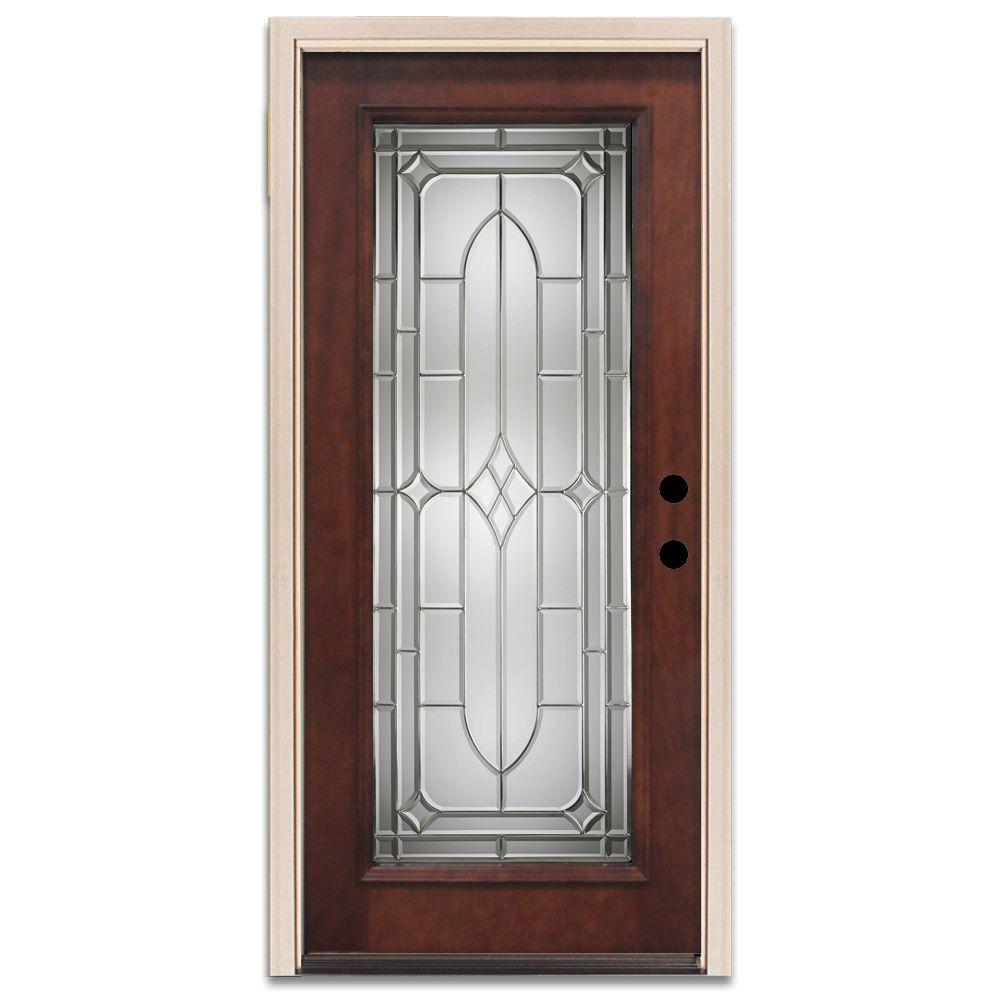 Steves & Sons Brookhollow Full Lite Prefinished Mahogany Wood Prehung Front Door-DISCONTINUED