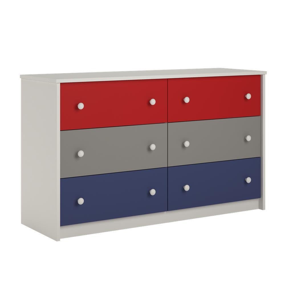 Valentine 6-Drawer White Dresser