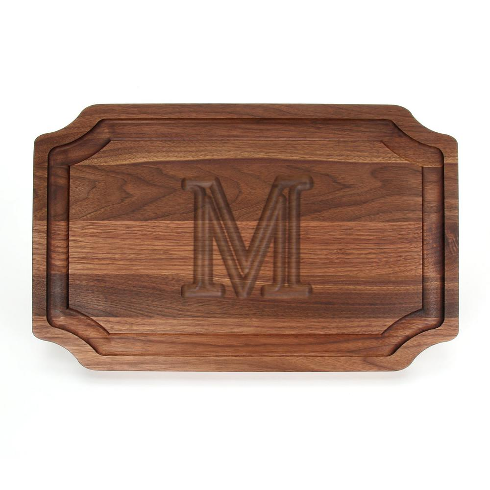 Selwood 1-Piece Walnut Cutting Board with Carved M