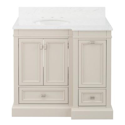 Braylee 37 in. W x 24 in. D Vanity Cabinet in Rainy Day with Engineered Stone Vanity Top in White with White Sink