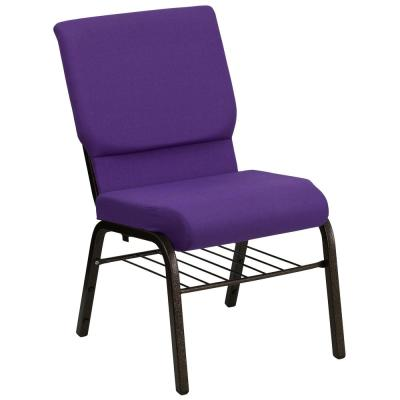 Purple Fabric/Gold Vein Frame Stack Chair