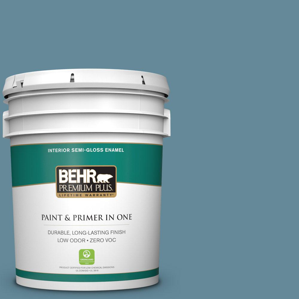 BEHR Premium Plus 5-gal. #BIC-22 Relaxed Blue Semi-Gloss Enamel Interior Paint