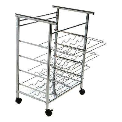 16-Bottle Silver 4-Tier Layered Wine Bottle Mobile Cart