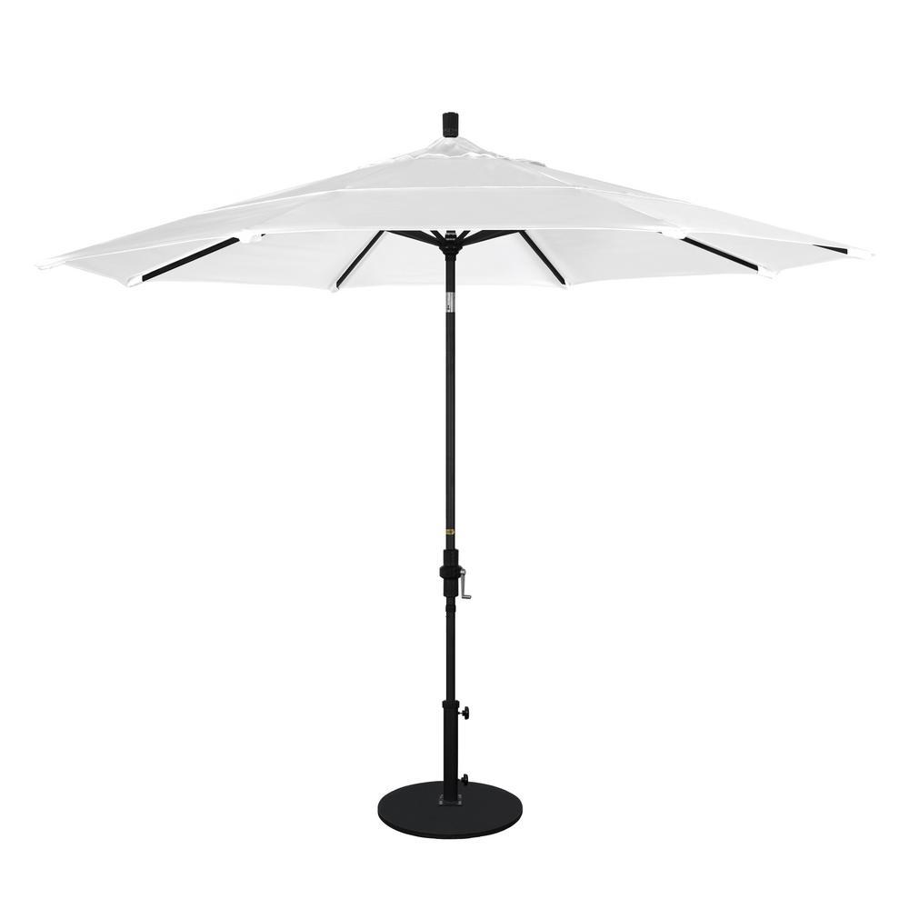 California Umbrella 11 ft. Black Aluminum Pole Market Aluminum Ribs Crank Lift Outdoor Patio Umbrella in Natural Sunbrella