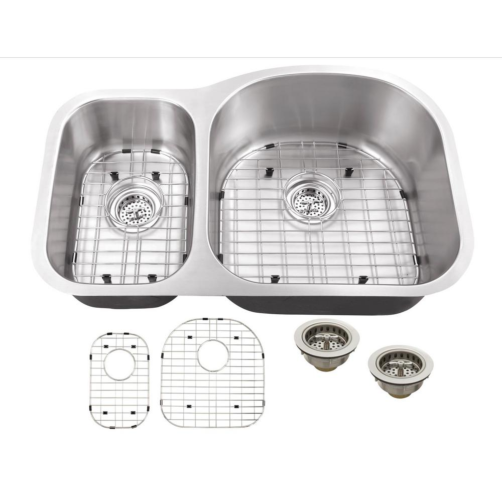 Undermount 16-Gauge Stainless Steel 31-1/2 in. 0-Hole 30/70 Double Bowl Kitchen