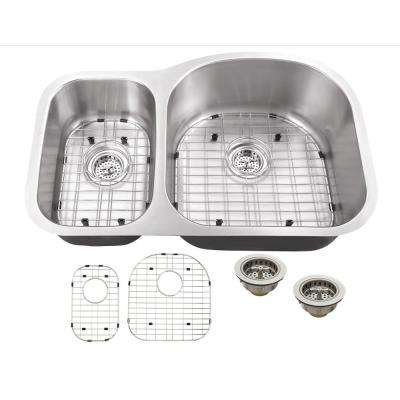 Undermount 16-Gauge Stainless Steel 31-1/2 in. 0-Hole 30/70 Double Bowl Kitchen Sink