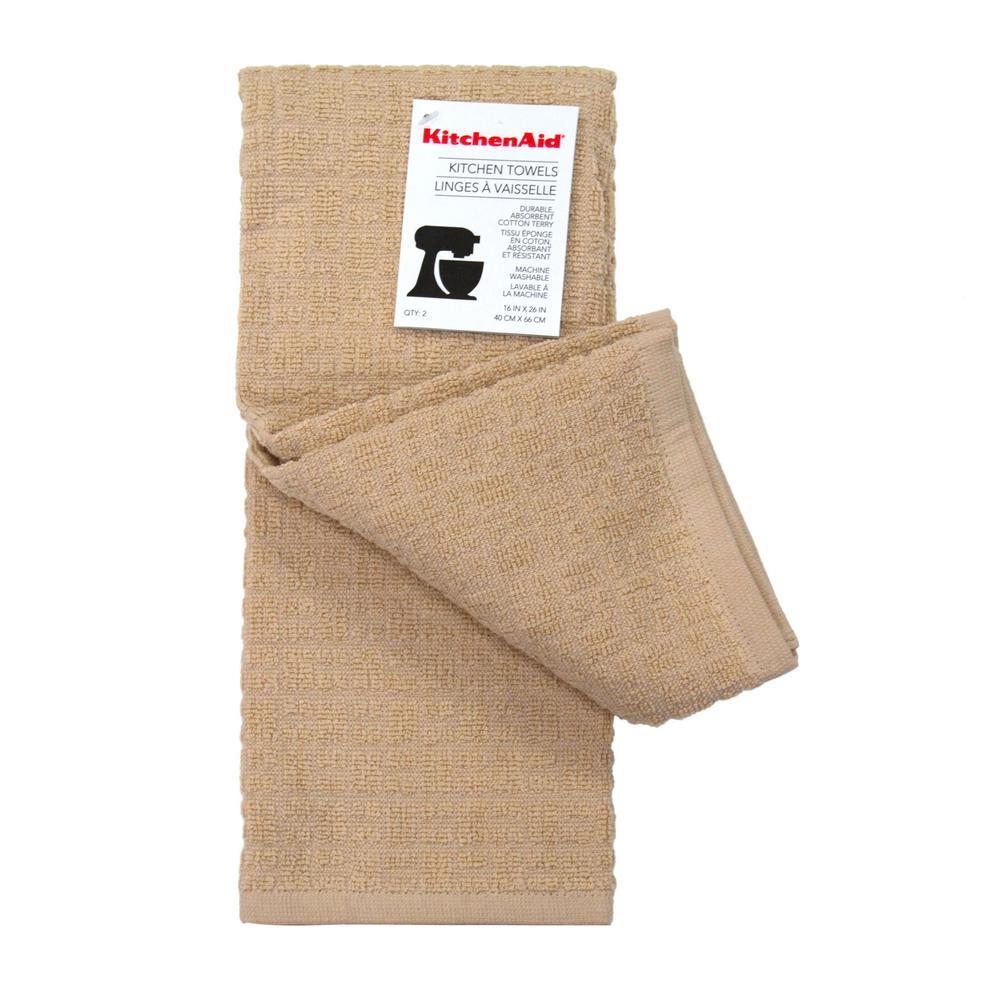 Kitchenaid Adastral Solid Sand Kitchen Towel 2 Pack