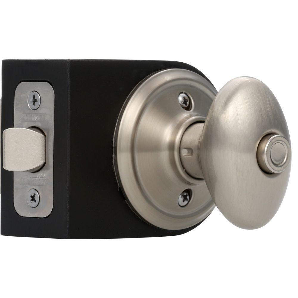 Schlage siena satin nickel privacy bed bath door knob f40 - Bathroom door knobs with privacy lock ...