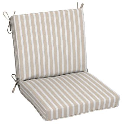 Oak Cliff 22 x 40 Sunbrella Shore Linen Mid Back Outdoor Dining Chair Cushion