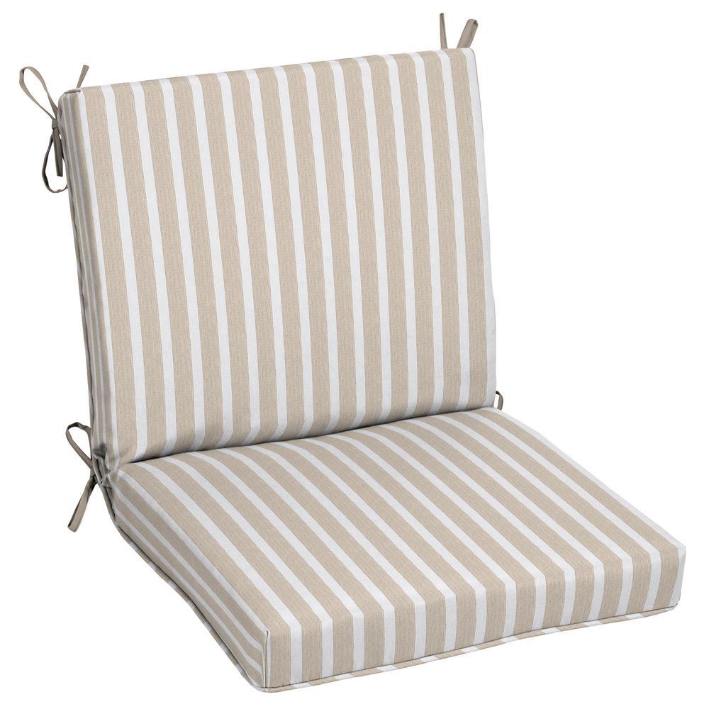Oak Cliff 22 x 40 Sunbrella Shore Linen Mid Back Outdoor Dining Chair Cushion