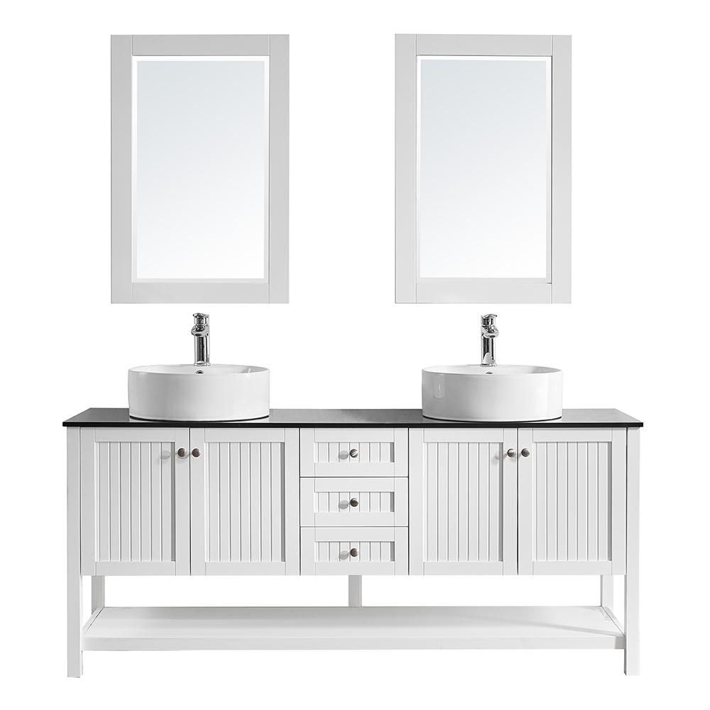 Vinnova Modena 72 in. W x 20 in. D Vanity in White with Glass Vanity Top in Black with White Basin and Mirror